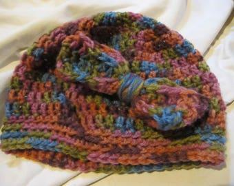 Dusk Bow Accent Beanie, Winter Beanie, Womens Beanie, Skull Cap, Womens Hat, Womens Skullcap, Winter Hat, Crochet Beanie, Crochet Hat