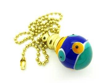 Pull Chain for Fan or Light - Handmade Venetian Glass - Green Yellow Blue - 18 inch - Brass or Nickel - Lampwork Glass