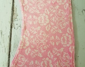 50% OFF Pink and white floral  print minky burp cloth