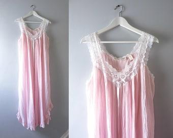 Vintage Pink Cotton Gauze Summer Prairie Nightgown M/L
