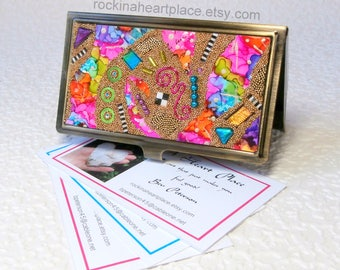 Metal Business Card Case with Original Collage Top, brushed bronze finish, microbead collage in rainbow colors