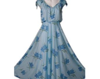 Vintage Soft Blue Flowing MAXI Sundress 70's Floral