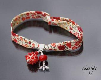 Bracelet tissu liberty et argent