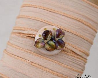 Sabrina - Bracelet ruban / Collier / Bandeau verre et soie - Nude / multicolore -  Gaelys