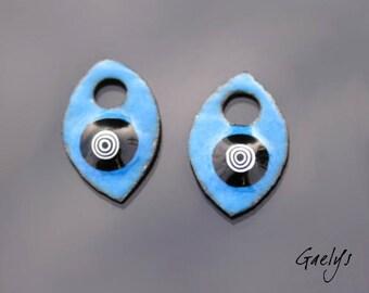 Email sur cuivre - Paire de plaque de cuivre émaillé pour boucles d'oreille - fond turquoise - 1 murine - Gaelys