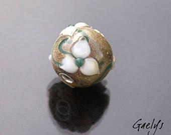 Jasmina - lampwork gaelys - troll  bead - verre silvered et fleurs blanches - trou 2.50mm
