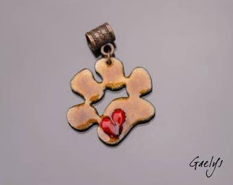 Paw - pendant enamel on copper - copper - Brown metal red heart Mount - enamels Gaelys