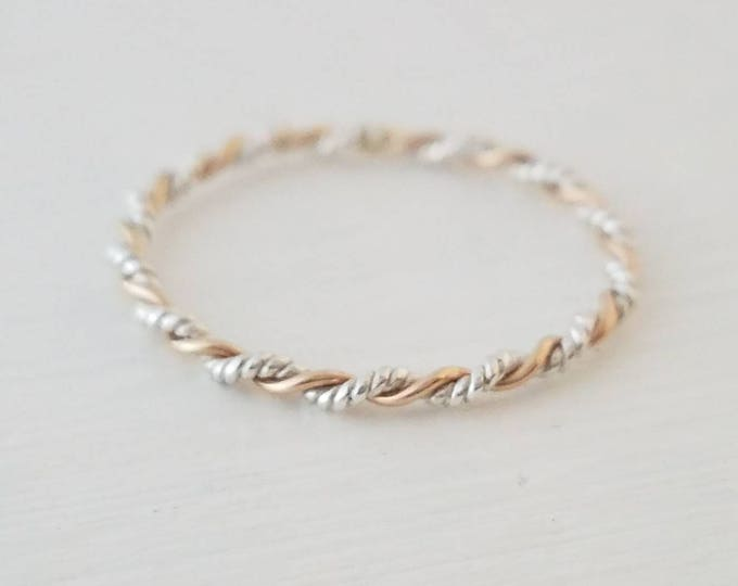 Twisted Band in Sterling Silver 14k Gold Filled