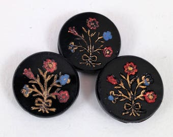 Set of Three Victorian Waist Coat Buttons, Black Glass with Red and Blue Flowers