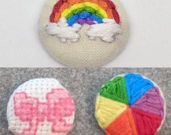 Rainbow Clouds Color Wheel Cross Stitch Bow Button Embroidery Art Cute Pink Red Purple Blue Yellow Green Orange Jewelry Earring Pin Magnet