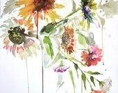 Watercolor painting -wild Sunflowers- original watercolor flower painting