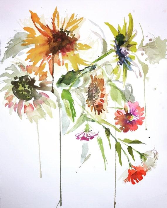 Watercolor painting -wild Sunflowers- original watercolor flower painting