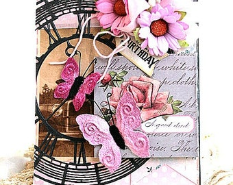 shabby chic card-CLOCK and BUTTERFLIES-happy birthday greeting