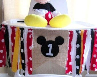 Mickey inspired High Chair banner ~Burlap Banner ~Black Red White Yellow ~1st birthday ~photo prop~Rag Tie Banner~high chair banner~bunting