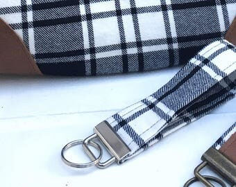 Buffalo Plaid key fob, black and white plaid, key chain, purse charm, bag charm, key ring, accessory, gift, maineteam