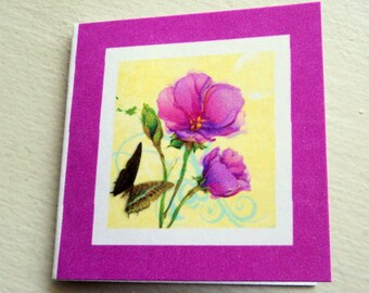 """5 Mini Note Cards, 2x2"""", Beautiful Flowers and Butterfly, Deep Rose Color, Blank Inside, Takuniquedesigns"""