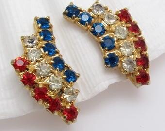 Vintage Striped Rhinestone Earrings Patriotic Jewelry E8057