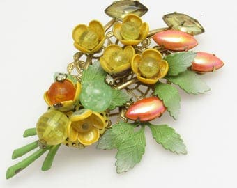 Large Flower Brooch Vintage Floral Jewelry P8656