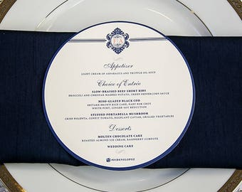 Circle Wedding Menu, Menu Card, Custom Menu, 6 Inch Circle Menu, Laser Cut Menu