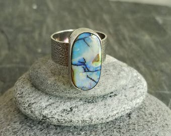 Monarch Opal Ring, Blue Purple Gemstone, Wide Band, Sterling Silver, Hammered, Size 6 to 7