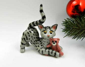 Egyptian Mau Cat Christmas Ornament Figurine with Pink Bunny Toy Porcelain