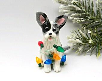 Cardigan Welsh Corgi Christmas Ornament Figurine Lights Porcelain