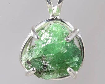 Tsavorite, Uncut Rare Green Garnet, 9.76 carats, Hand Set in Sterling Pendant with Sterling Chain  -  Fast Free Shipping with gift wrap