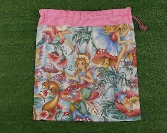 Woodland or bush fairies drawstring bag, library bag, toy bag or storage bag