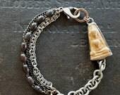 Thai Buddha in Handmade Silver Setting - Rustic Clay Amulet Bracelet