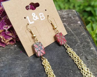 Accented ruby bead earrings
