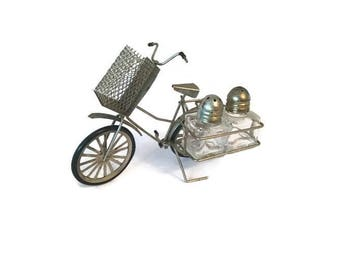 Bicycle salt and pepper shakers and toothpick holder -1970s to 1980s