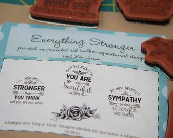 Unity Stamp Company rubber stamp set, Everything Stronger, support rubber stamp, sympathy rubber stamp, sympathy card making, rose stamp