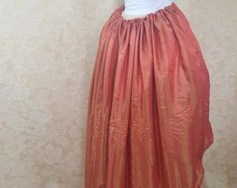 SUMMER SALE BLACK Friday Sale Red Orange Shot Walking Skirt Tiered Long Victorian Skirt-One Size Fits All