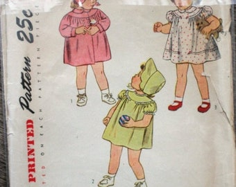 SAVE - ON SALE Rare vintage 1947 Simplicity sewing pattern #2050 - Toddlers' size 2 dress, coat and hat. Pattern Is Complete.  In good condi