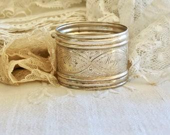 Lovely Vintage Engraved Silver Plate Napkin Ring