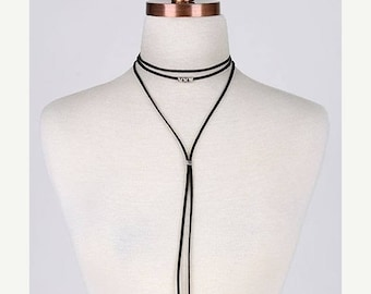 SUMMER SALE Stud and Leather choker wrap