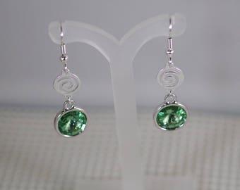 Swarovski Crystal Rivoli Earrings - Silver Plated Findings - TierraCast Settings