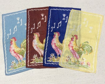 Vintage Cocktail Napkins Set of 4 Colorful Crowing Roosters