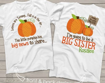 pumpkin big sister shirt- big sister to be fall or halloween pregnancy announcement SNLF-005