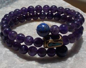 Amethyst Mala Bracelet- prayer beads- rosary - 54 beads