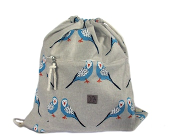 parakeet bird backpack cotton linen