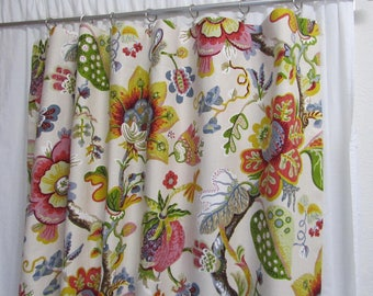 "Bright Floral Curtains, Pink Yellow Green Blue Drapes, Cottage Decor, Feminine Window Curtains, Fun Floral, Rod-Pocket, One Pair 50""W"