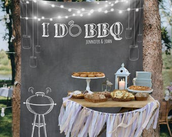 I Do BBQ, Wedding Backdrop Curtain, Engagement Backdrop Curtain, Bridal Shower Decorations, Bridal Shower Backdrop / W-G20-TP MAR1 AA3