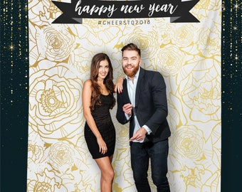 New Years Party, Custom Party Photo Booth, Selfie Station, Party Photo Backdrop, Step and Repeat / H-T18-TP REG1 AA3