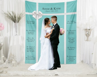Tiffany's Wedding Backdrop, Tiffany's Wedding Decor, Tiffany's Photo Booth Backdrop, Custom Wedding Banner Backdrop / W-A26-TP QQ9