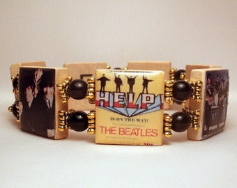 BEATLES / SCRABBLE Bracelet / Handmade Jewelry / Unusual Gifts / Upcycled / Beaded