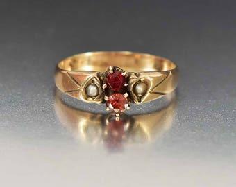 Antique 12K Gold Garnet Ring | Pearl Heart Edwardian Ring | Wedding Band Ring | Antique Pearl Ring | Birthstone Stacking Ring | Heart Ring