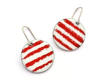 Candy Cane Stripes Enameled Earrings, Red and White Earrings, Circle Earrings, Colorful Jewelry, Christmas Earrings, Striped Earrings