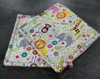 Baby Burp Cloths Baby Animals Set of Two Handmade Flannel Baby Accessories