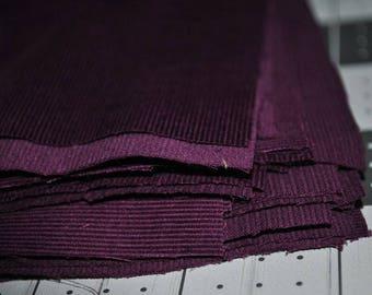 50 Pack 5 Inch Deep Purple Mini Corduroy Squares Quilting Stash